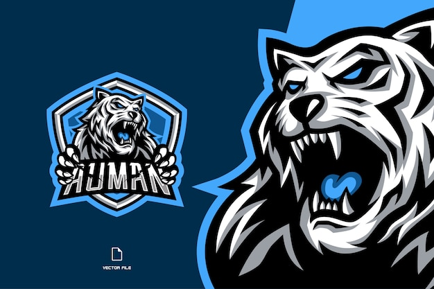 Angry white tiger mascot esport game logo
