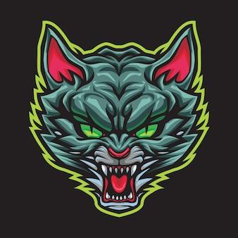 怒っている野生の猫のeスポーツのロゴイラスト