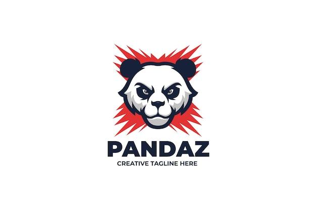 화난 야생 팬더 마스코트 캐릭터 로고