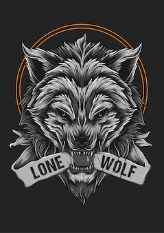 Angry wolf beast face illustration