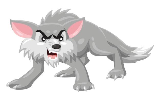 怒っているオオカミの漫画