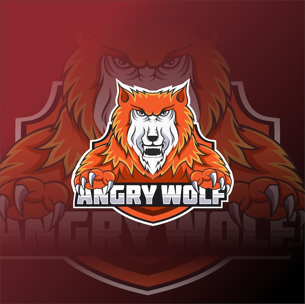 Angry wolf e-sports team logo template