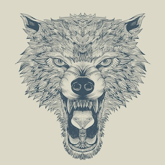 Angry wolf engraving with outline