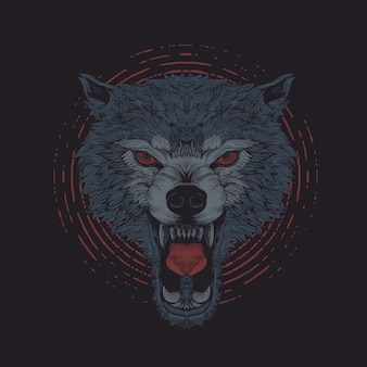 Angry wolf engraving