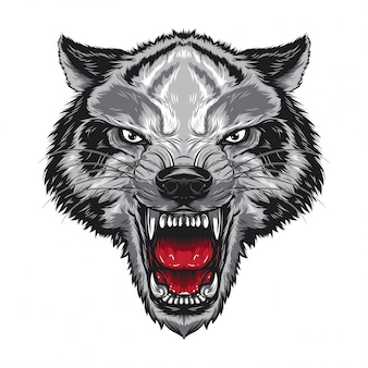 Angry wolf face