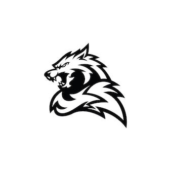 Angry wolf or fox head tail outline silhouette illustration logo icon in black and white color