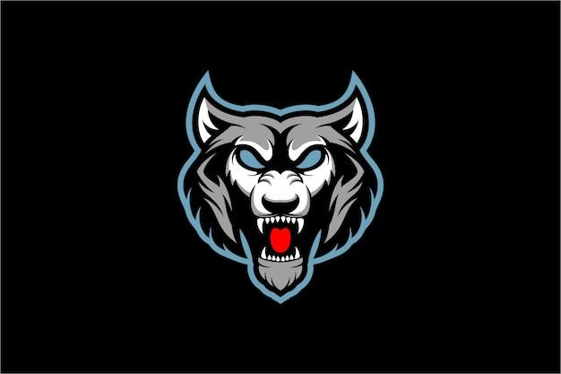 Angry wolf head esport   illustration