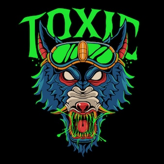 Angry wolf head illustration. toxic wolf wearing glasses