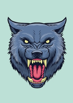 Angry wolf head illustration