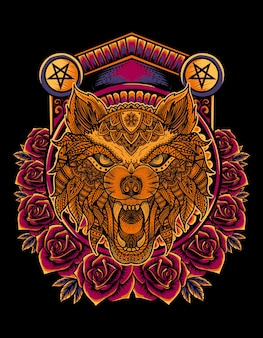 Angry wolf head mandala style with rose flower