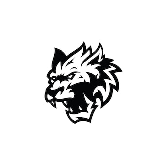 Angry wolf head outline silhouette illustration logo icon in black and white color