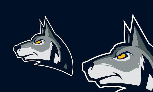 Angry wolf head premium logo vector mascot illustration