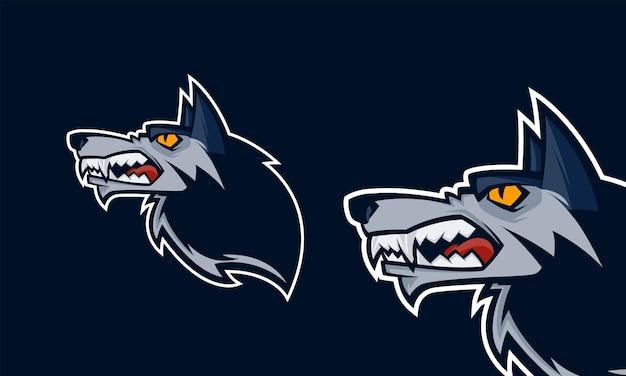 怒っているオオカミの頭プレミアムロゴベクトルマスコットイラスト