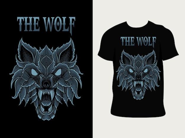 T 셔츠 디자인으로 화난 늑대 머리 프리미엄 벡터