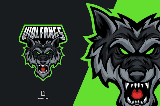 Eスポーツチームテンプレートの怒っているオオカミマスコットゲームのロゴ