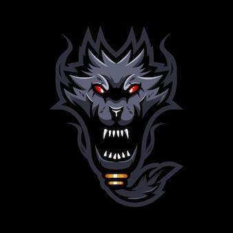 モダンなイラストのコンセプトスタイルで怒っているオオカミマスコットロゴデザイン。ひげを生やしたオオカミのイラスト