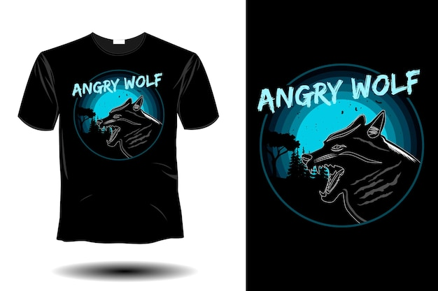 Angry wolf mockup retro vintage design