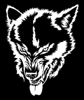 Angry wolf shows teeth wolf grin wolf head black and white drawing for tshirt