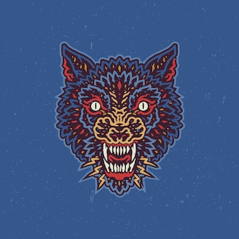 Angry wolf vintage badge illustration