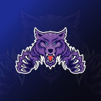 Angry wolf with claw mascot for esport gaming