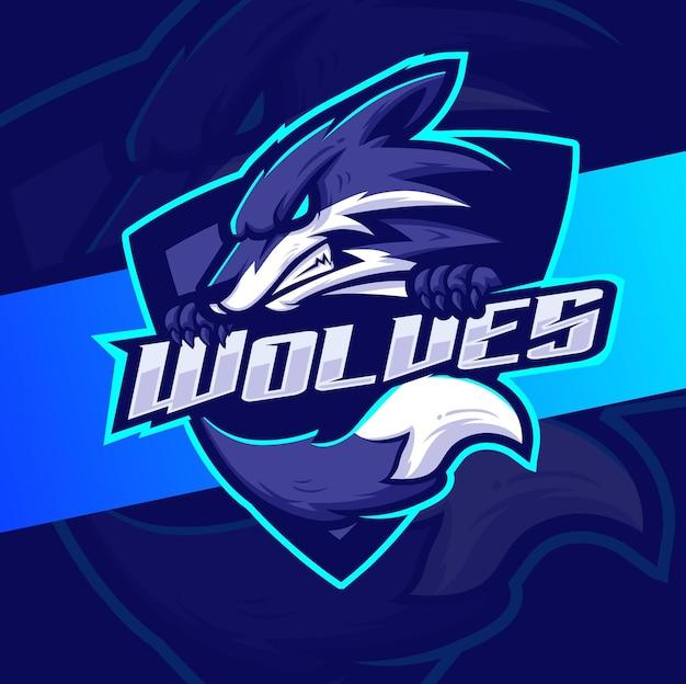게임 및 스포츠를 위한 성난 늑대 마스코트 esport 로고 디자인 캐릭터