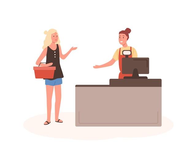 Сердитая женщина на иллюстрации квартиры кассы торгового центра. женщина недовольна клиентом, стоящим в очереди героев мультфильмов
