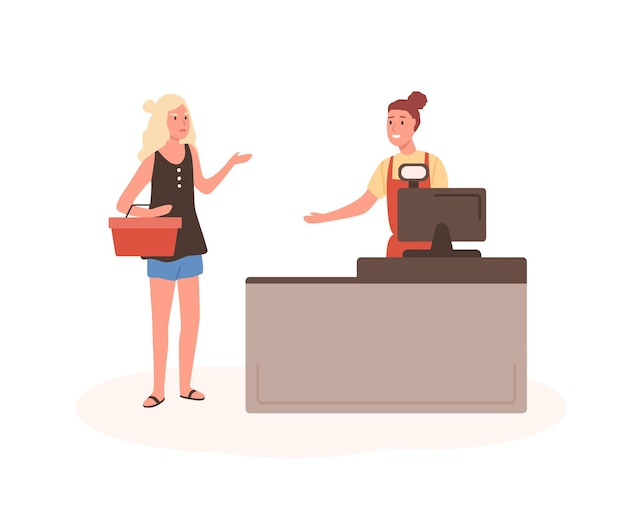 Angry woman at mall checkout flat illustration. female displeased customer standing in queue cartoon characters
