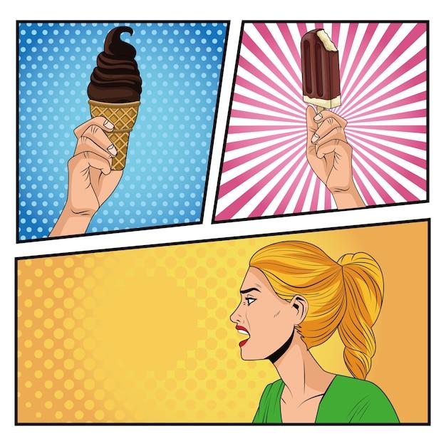 Злой женский профиль с персонажем в стиле поп-арт мороженого