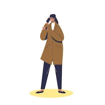 Злая женщина ждет человека поздно. раздраженная пунктуальная женщина обвиняет людей в опоздании по телефону. нервный мультипликационный персонаж ждет