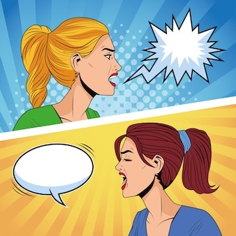 Angry women profiles with speech bubbles pop art style characters