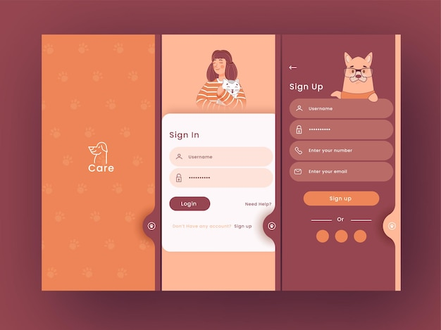 동물 입양 또는 관리 테마 응용 프로그램 스플래시 화면, 템플릿 레이아웃으로 로그인 및 가입