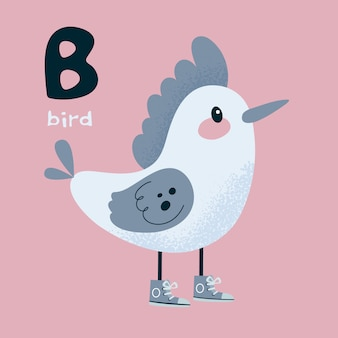 Animal alphabet. bird woodpecker. letter b.