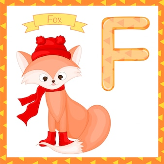 Animal alphabet. f is for fox. cute cartoon fox isolated