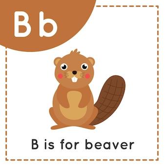 子供のための動物のアルファベットのフラッシュカード。学習文字b。bはビーバー用です。