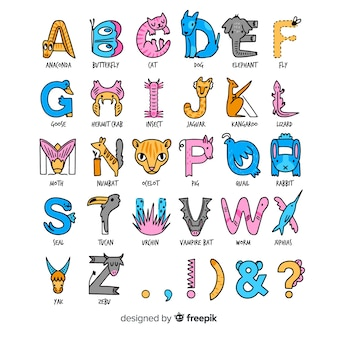 Animal alphabet in flat design