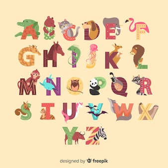 Animal alphabet from a to z illustrated