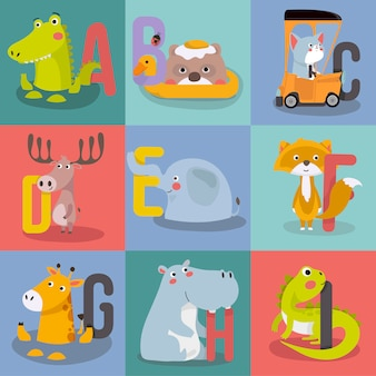 Animal alphabet graphic a to i.