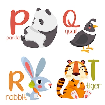 Tの動物アルファベットグラフィックp。漫画スタイルの動物とかわいい動物園アルファベット。