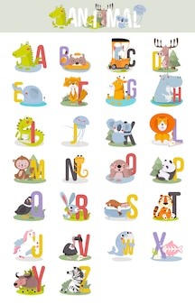 Animal alphabet graphic a to z.