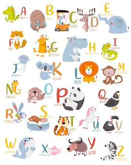 Animal alphabet graphic a to z.