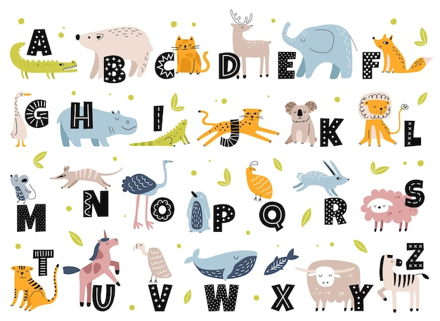 스칸디나비아 스타일의 동물 알파벳 귀여운 코끼리 여우 곰 유니콘 만화 동물 문자