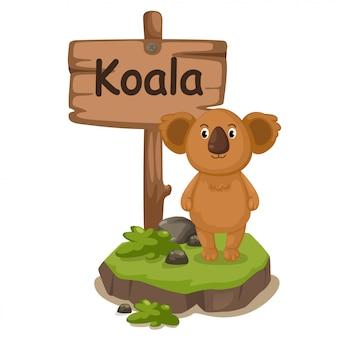 Animal alphabet letter k for koala