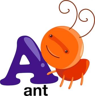 Animal alphabet letter - a