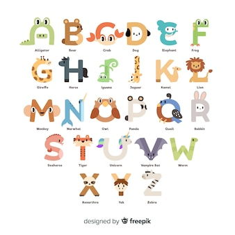 Animal alphabet with cute illustrations