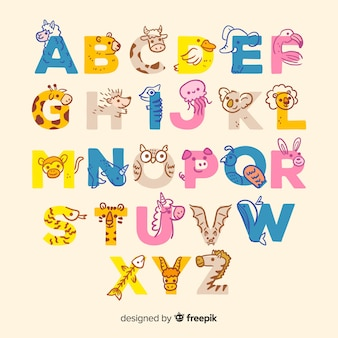 Animal alphabet with cute letters