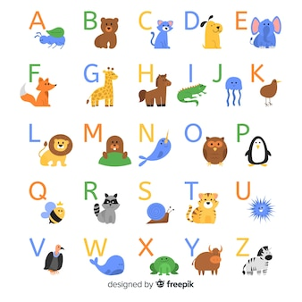 Animal alphabet with wild animals