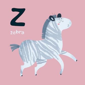 Animal alphabet. zebra horse. letter z.