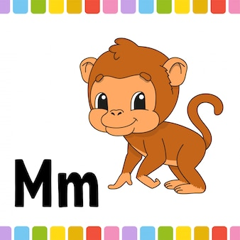 Animal alphabet. zoo abc. cartoon cute animal