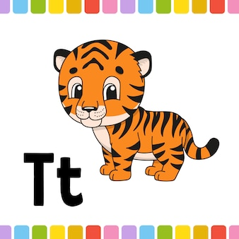 동물 알파벳. 동물원 abc. 만화 귀여운 동물
