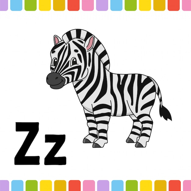 Animal alphabet. zoo abc. cartoon cute animals on white background.